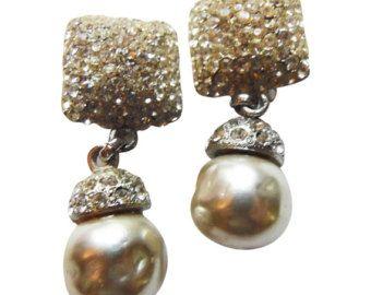 Finte perle e strass quadrato orecchini pendenti Orecchini Vintage 1960 orecchini da sposa partito