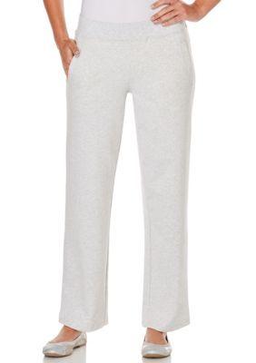 Rafaella Women's Petite Size French Terry Pants - Carrara Heather Gray - Pxl