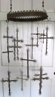 Wind Chimes: Beads And Wire Crosses, Crosses Ornaments, Crosses Chimes, Pearls Crosses, Wind Chimes, Crosses Mobile, Crosses Wire, Beads Mobiles, Sassytrash Antiques