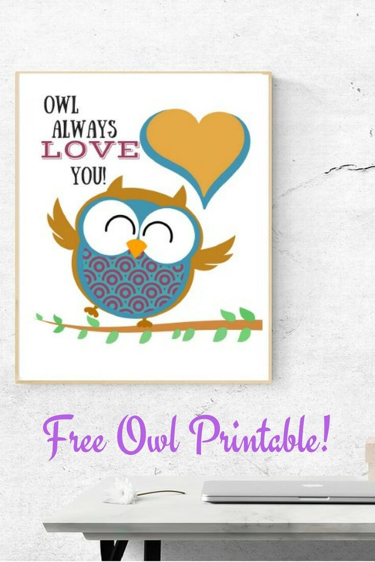 Check out this free Owl Printable. Perfect for a free gift for Valentine's Day or any day.  via @merry120