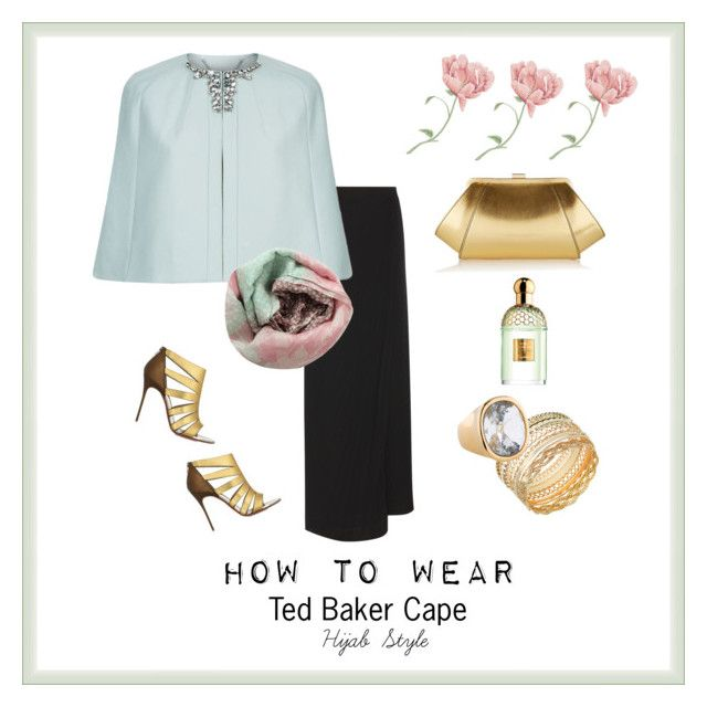 """Fall in love with this cape TED BAKER"" by chevy-mona-adiwar on Polyvore featuring Maison Margiela, Ted Baker, Christian Louboutin, GUESS, ZAC Zac Posen, Kenneth Jay Lane, Pashma and Guerlain"