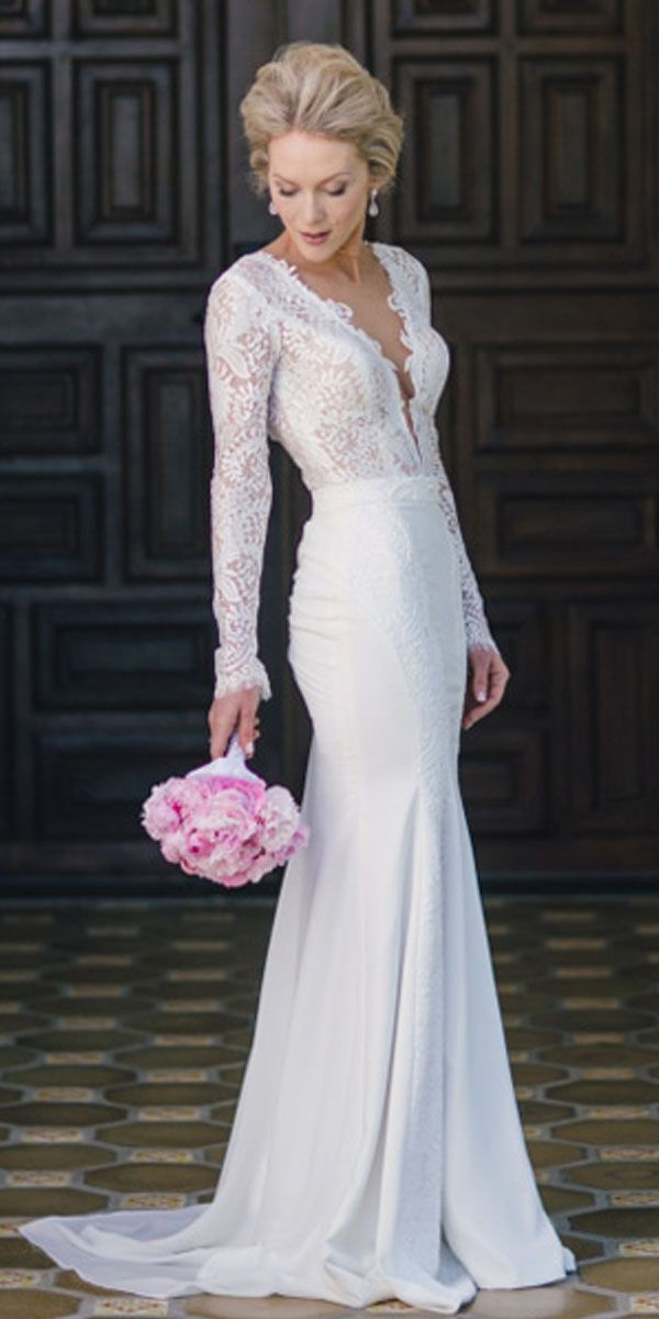 [169.79]  Junoesque Chiffon & Lace Wedding Dresses with Lace Applique