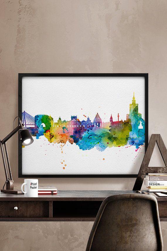 Warsaw skyline poster, Warsaw watercolor, Warsaw print, Poland cityscape, wall art, Warsaw artwork, Warsaw poster, Home Decor, iPrintPoster.