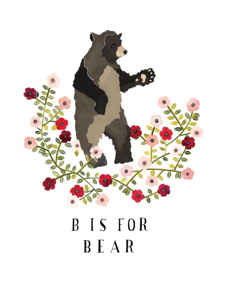 B is for Bear, art print, rebekka seale, illustration
