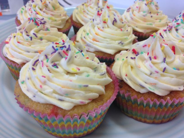 Triple Celebration Funfetti Cupcakes