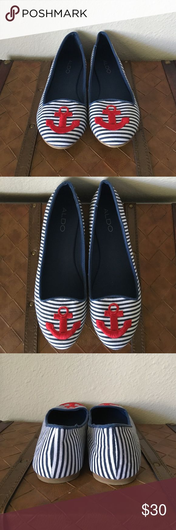 🛍CCO🛍 👉NWT👈 Aldo Nautical Flats Never worn Aldo nautical flats. Purchased for a vacation, but decided to go with another pair. Blue and white striped, with a red anchor at the toe. Size 7.5 Aldo Shoes
