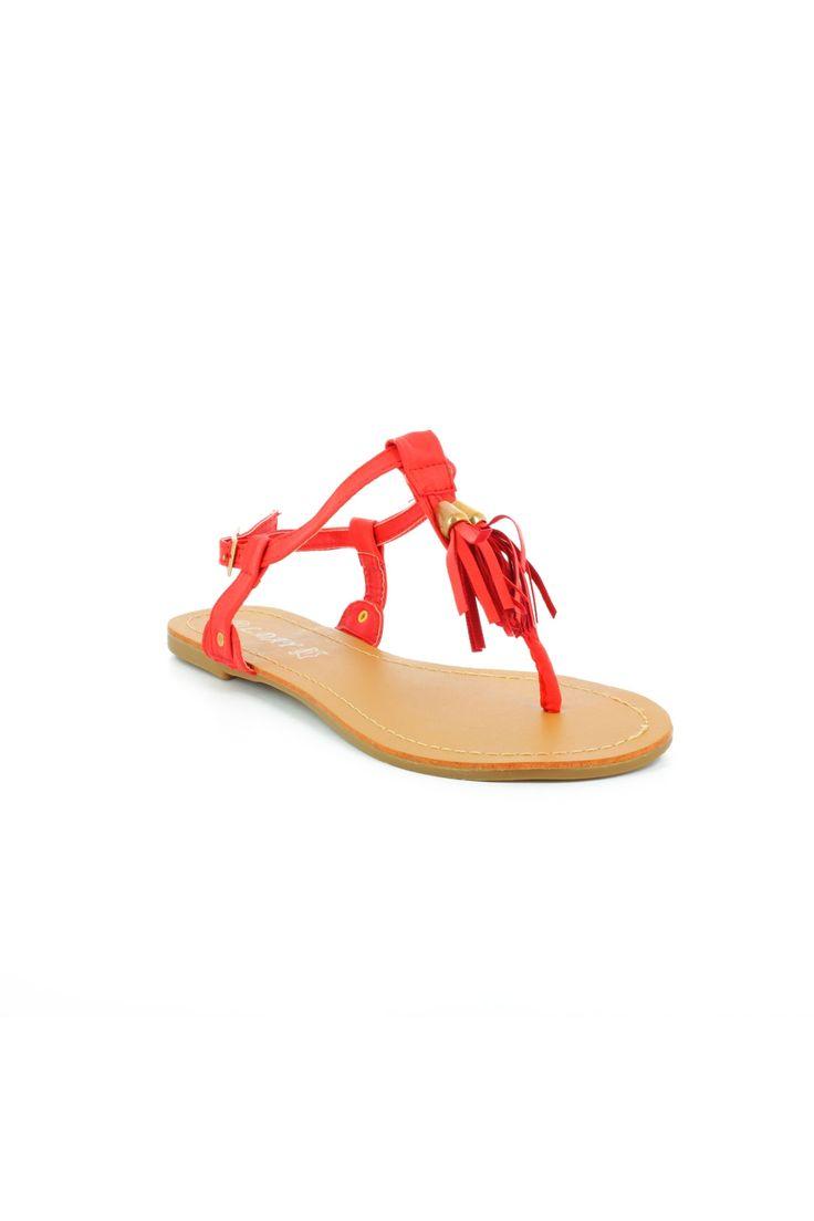 Nu-pieds fin à pompons rouge - Zonedachat