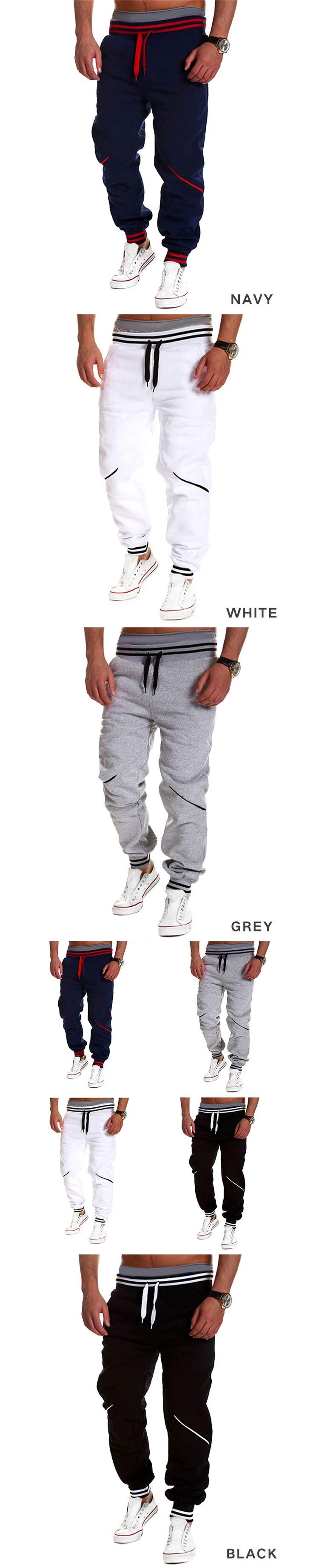 New casual mens joggers spliced pants new man hip hop long trousers Sweatpants pantalon homme white black