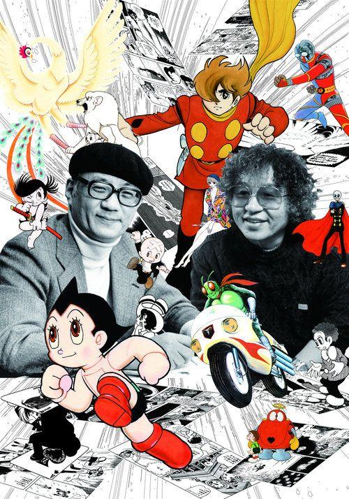 Osamu Tezuka (esq) e Shotaro Ishinomori, os dois maiores criadores da história do mangá.