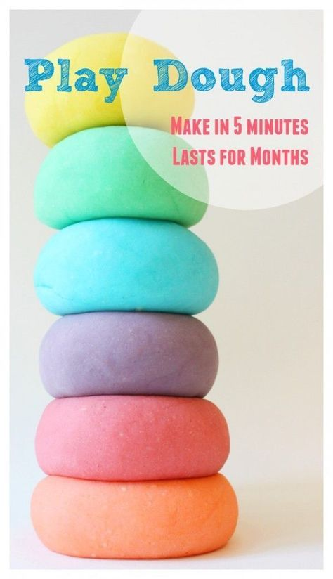 MAKE this PLAY DOUGH in 5 minutes! It is easy and cheap and lasts for months in the fridge!