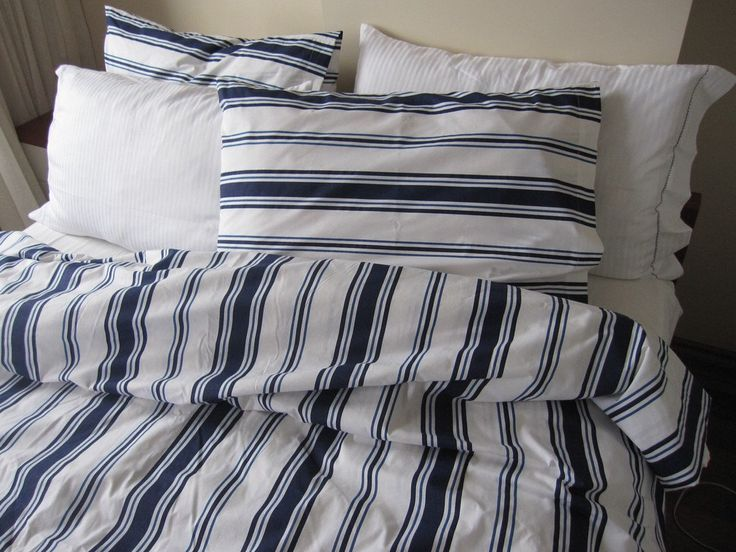 Nautical white navy blue sailor stripe queen size duvet cover sets with pillow cover  - Custom Bedding  for marine decoration by nurdanceyiz on Etsy https://www.etsy.com/listing/158531829/nautical-white-navy-blue-sailor-stripe