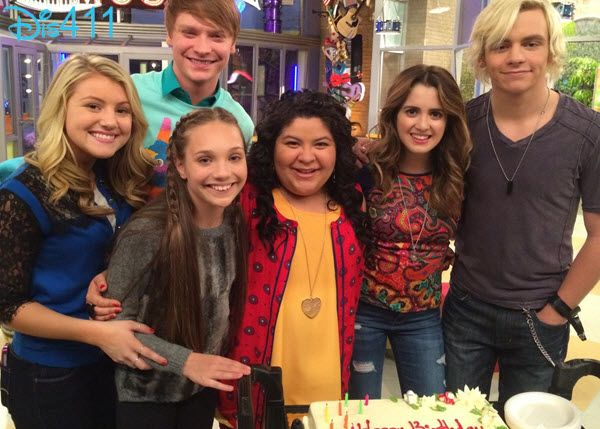 Laura Marano celebrating her birthday on set of #AustinAndAlly with Brooke Sorenson, Calum Worthy, Raini Rodriguez, Ross Lynch & more