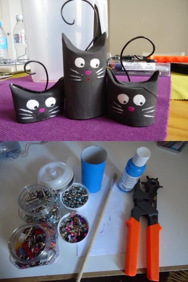 Gatos negros de cartón: ¡Cuidado con la mala suerte esta noche de halloween!  Via: Manualidades.about