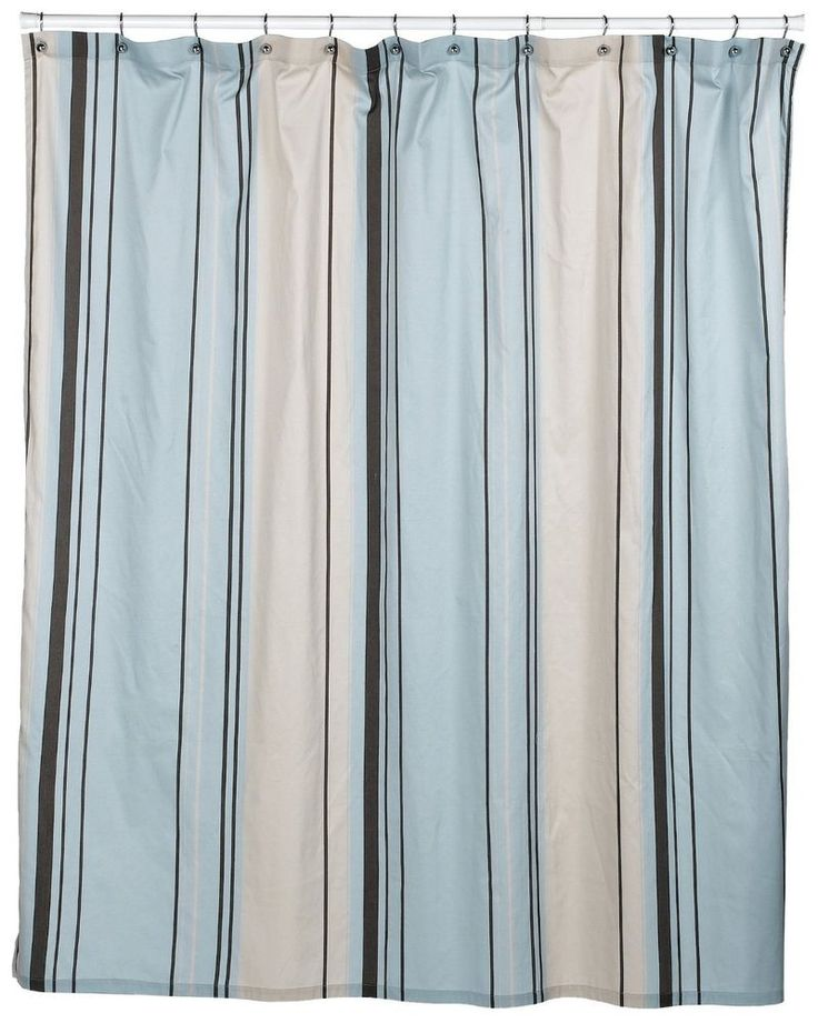 Nautica West End Blue Brown Beige Striped Fabric Shower Curtain NWOP Blue