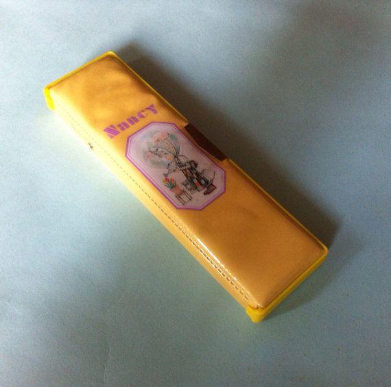Nancy Pencil Box. Yellow Vinyl Pencil Case. Three by JirjiMirji