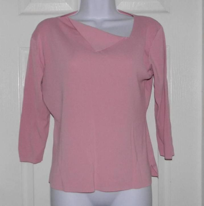 FINITY Shirt Top Pink Women's Career Ladies Stretch Casual Rayon Sz PXL Petite #finity #KnitTop #Career