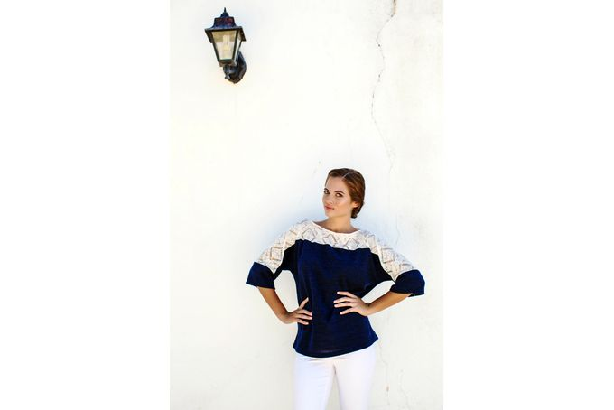 The Alivia sweater navy and lace by Georgie.B