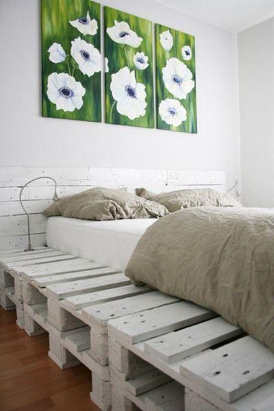 Κρεβάτι από ξύλινες παλέτες άσπρο. 40+ ιδέες, προτάσεις DIY κατασκευής του από παλιές ξύλινες παλέτες. Pallet Beds Design Ideas