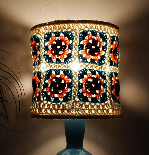 Boho Chic Lampshade Pink Brown 70s 60s by AtmosphereLampShades, $50.00