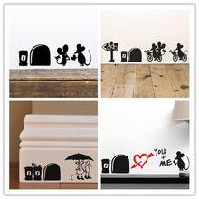 Ben seni çok seviyorum 3d Komik fare delik duvar Sticker çıkartmaları Oturma odası Yatak Odası duvar sanat duvar kağıdı duvar Düğün Dekorasyon(China (Mainland))