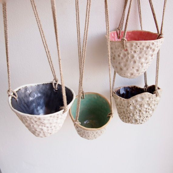 Hanging ceramic circle planterceramic planterpottery by Kabinshop