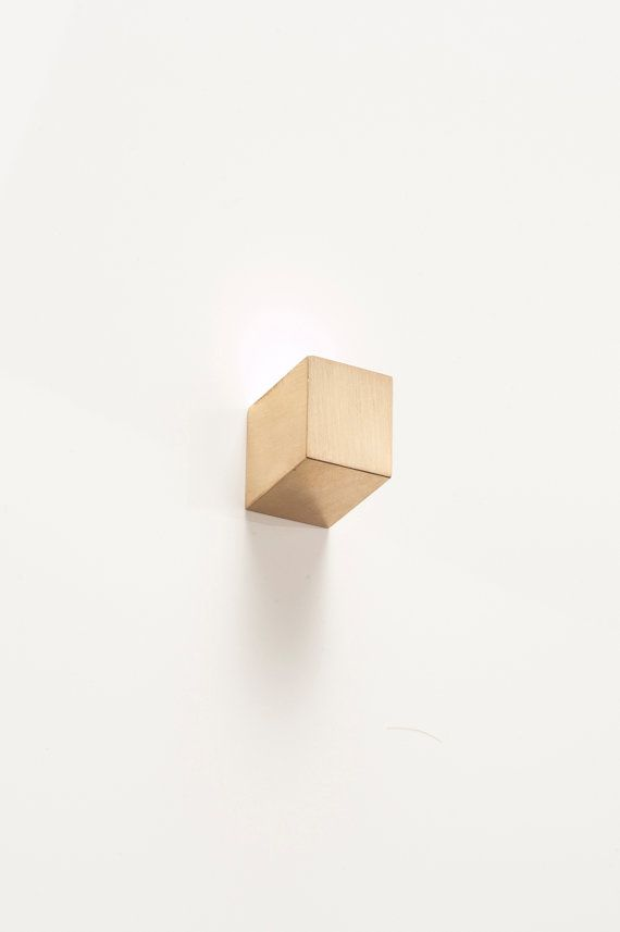 Solid Brass Wall Hook- Parallax Cube