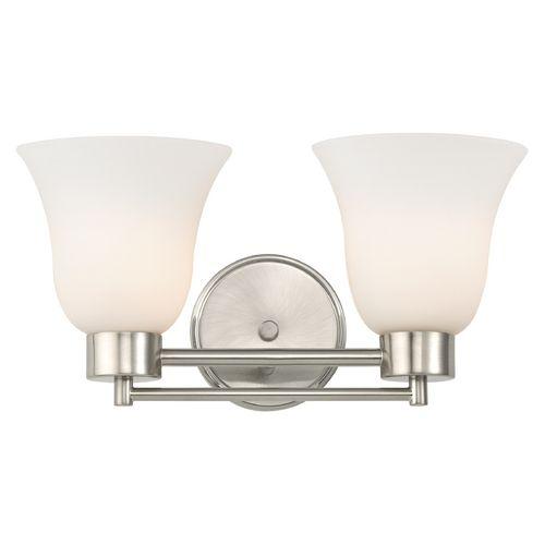 Modern Bathroom Light with White Glass in Satin Nickel Finish | 702-09 GL9222-WH | Destination Lighting