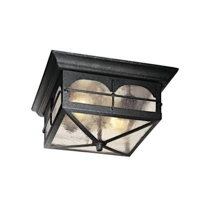 Home Decorators Collection Brimfield 2 Light Aged Iron Outdoor Flushmount Light
