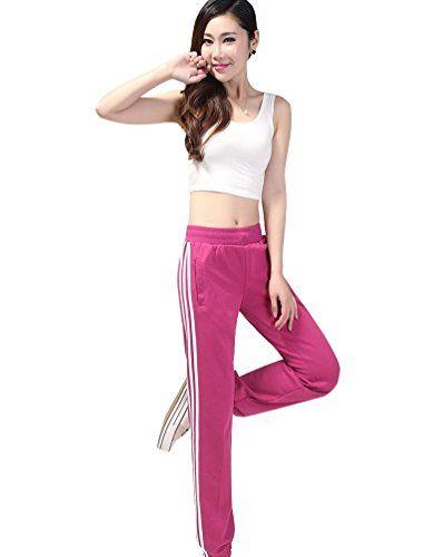 JIUQING Womens Yoga Sports Track Pants Cuff Sweatpants Joggers Pant Rose 2XL…