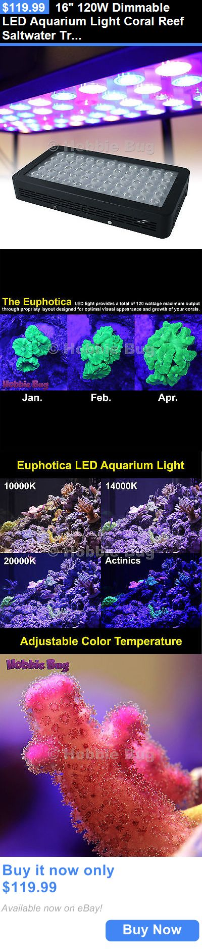 Animals Fish And Aquariums: 16 120W Dimmable Led Aquarium Light Coral Reef Saltwater Tropical Fish Tank BUY IT NOW ONLY: $119.99