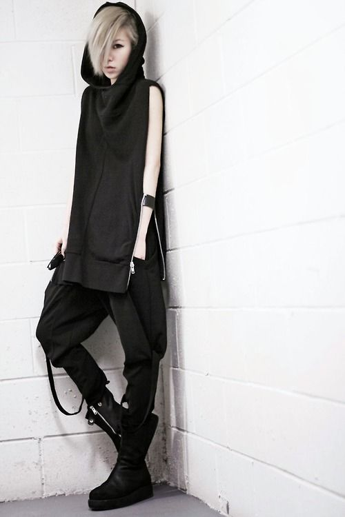 Swoop hood. Slender Fit. Zipper on the side! Such a cool black hoodie... androgynous fashion, gothic