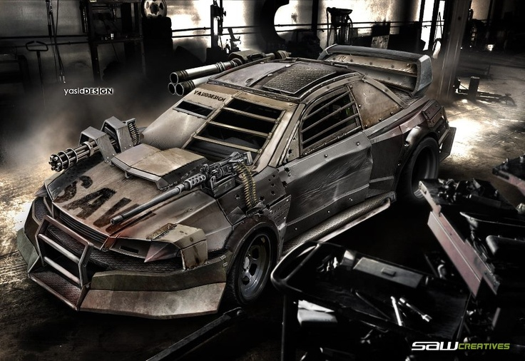 Subaru Impreza, Death Race look. (Look more like a Zombie Apolypse Car.)