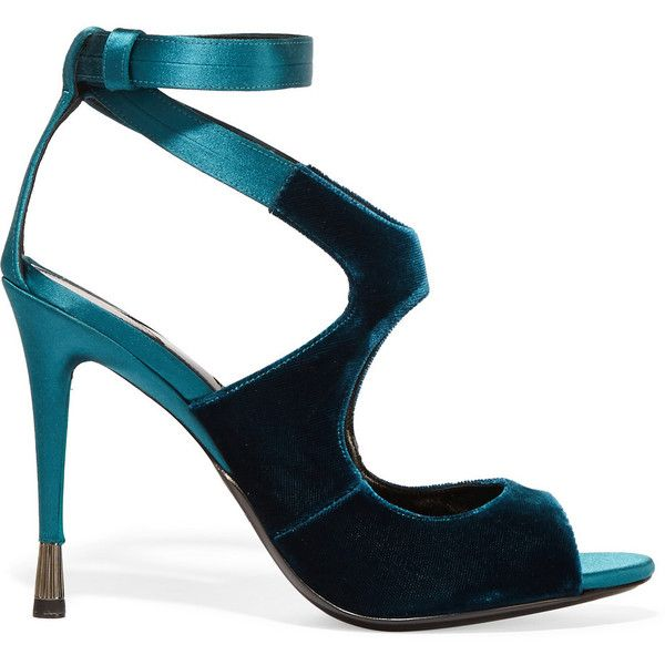 Tom Ford Velvet and satin sandals ($1,055) found on Polyvore featuring women's fashion, shoes, sandals, heels, tom ford, petrol, ankle wrap shoes, tom ford shoes, high heel shoes and ankle wrap sandals