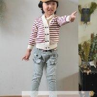 Setelan Mini Jeans Salur Merah
