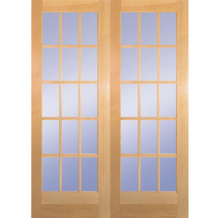 Builderu0027s Choice 60 In. X 80 In. 15 Lite Clear Wood Pine Prehung Interior  French Door