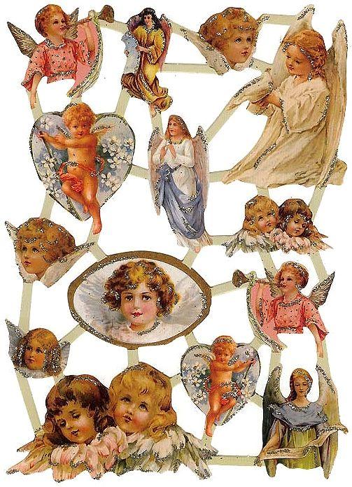 Glittered Valentine angel scraps from Holland