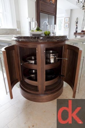 Kitchen Storage - walnut kitchen carousel, curved kitchen unit bespoke design