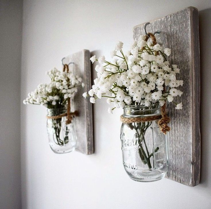 Paar aus Holz rustikal grau Wand montiert hängenden Kerzenhalter Blume Glas Wandle