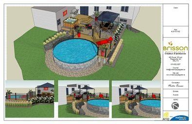 Design 3D Plan d'aménagement paysager 3D, cour arrière, patio de composite Trex, dalle Melville de Permacon, marche Hemmingford de Permacon, piscine hors-terre, spa, coin repas et gazébo. #design #plan #paysagement #conception #exterieur #plan3d #brissonpaysagiste
