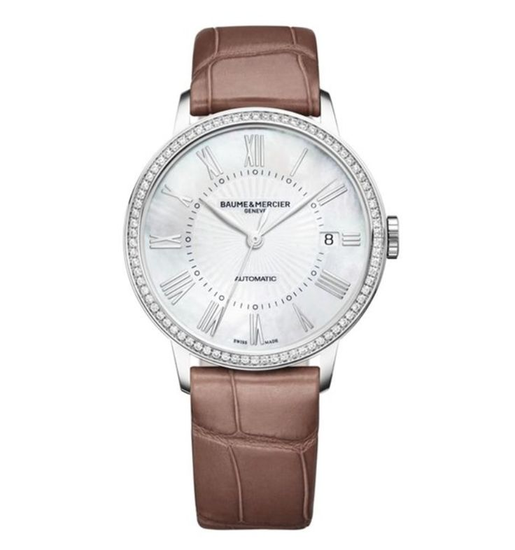 Model:Classima Lady Automatic Ref. M0A10222 Movement:Automatic Gender:Female Complications:Date, Minute Hand, Second Hand, Hour Hand Shape:Round Case Material:Stainless Steel Dail colour:Mother of Pearl Size:36.50 mm Material:Croco-leather Price:€ 4 700 @colman.be