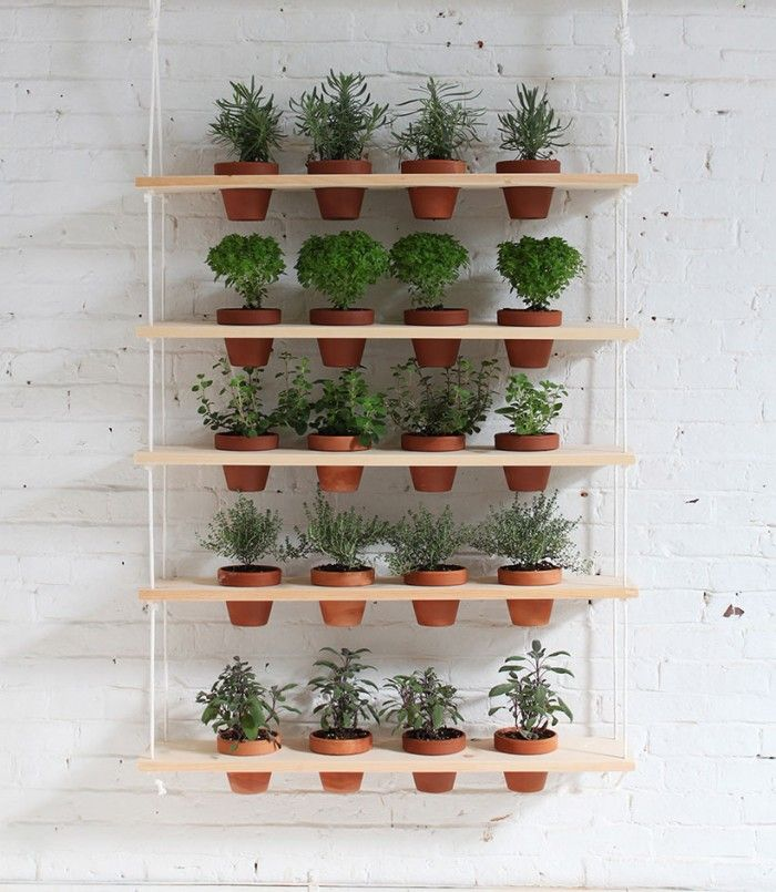 DIY Hanging Garden from HomeMade Modern. Maybe hanging in front of an unused door in the kitchen?