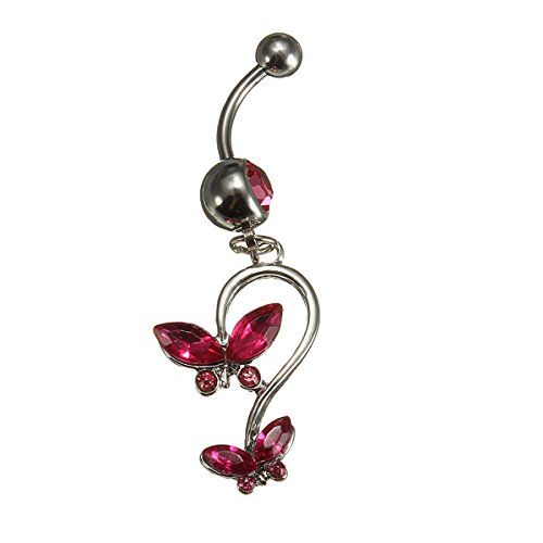 1 Pcs Piercing De Nombril Strass Cristal Papillon Boule Gemme Courbe Bijoux Belly Ring Rose | Your #1 Source for Beauty Products