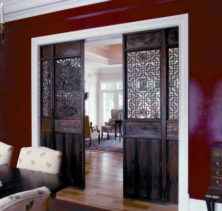 Pocket doors are used in many applications, including bathrooms, closets, offices, utility rooms, or other areas of the home where space constraints inhibit the use of traditional doors. Read more: http://www.howtobuildahouseblog.com/types-of-sliding-doors/#ixzz2v2LQKR6P