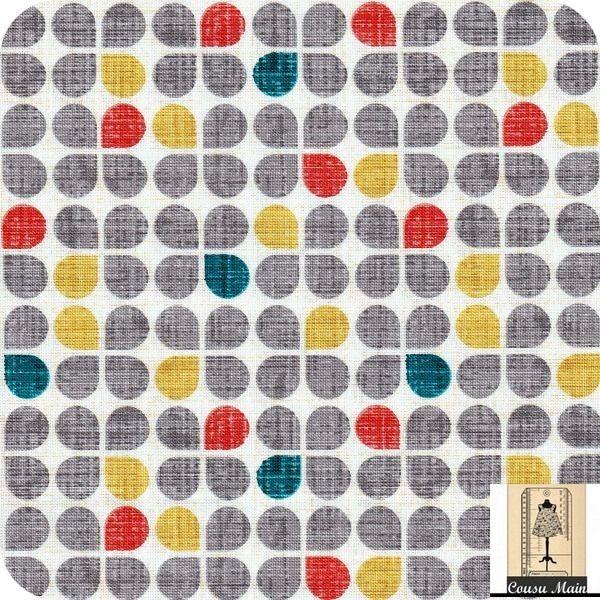 Tissu coton graphique p tales gris jaune bleu canard et for Ameublement japonais
