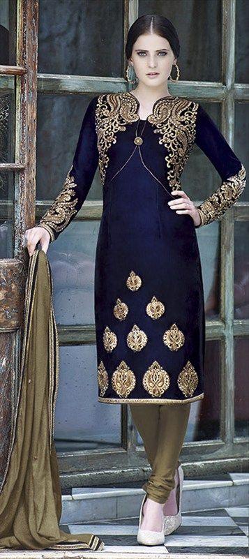 Velvet Salwar Kameez In Blue With Thread Work Indian