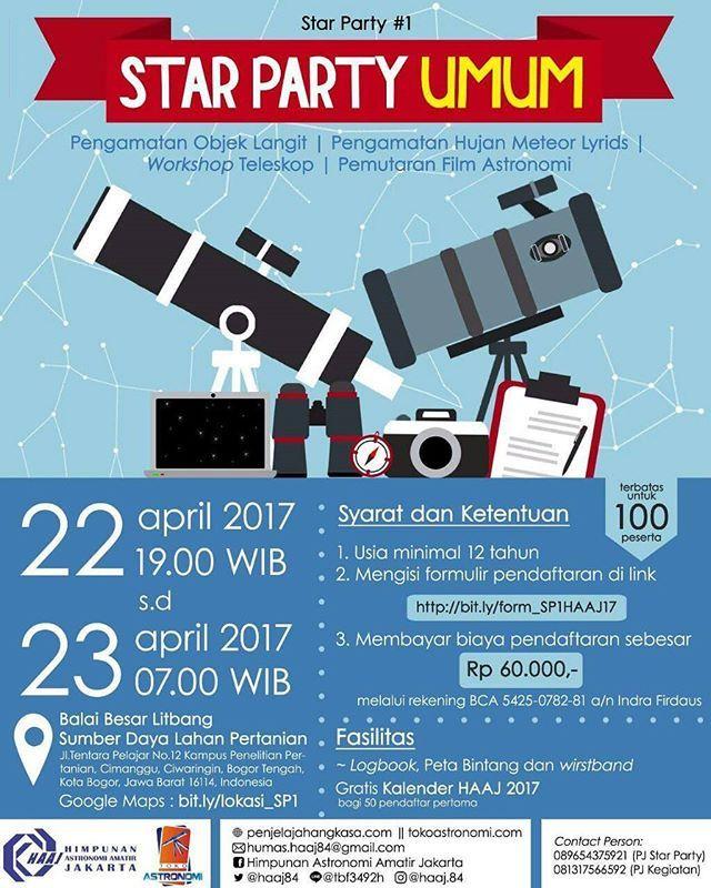 #HAAJ #HimpunanAstronomiAmatirJakarta #Indonesia #Astro #Astronomi #Astronomy #space #starparty #eventplanner #event #acara #workshopteleskop #nobarfilmastronomi #pengamatanmalam #planet #bintang #evedeso #eventdesignsource - posted by raken https://www.instagram.com/rakenasri. See more Event Planners at http://Evedeso.com
