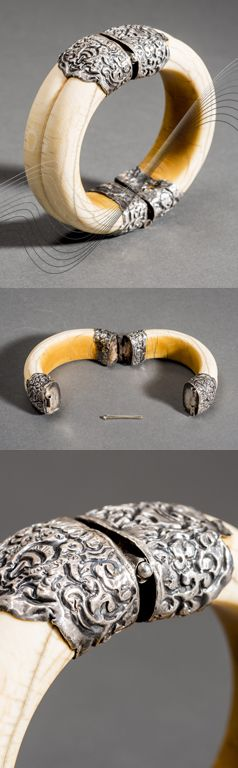 China or Sino-Tibet | Bracelet; ivory with silver.  Ø 8.4 cm | Period: Late Qing | Est. 900€ ~ Jan '16 //  136061056699