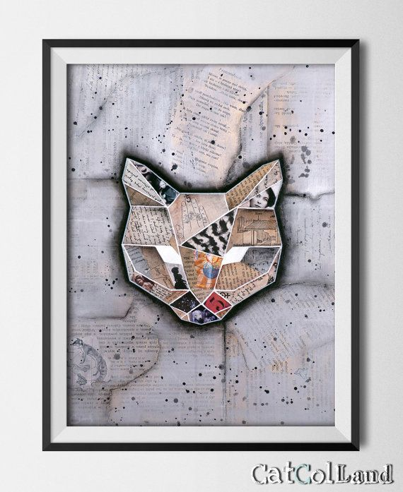 Geometricat Mixed Media Collage 12x 16 original art by CatColLand