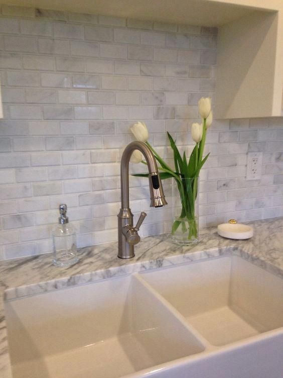 White Carrara Marble Beveled Brick 2x4 Subway Tile