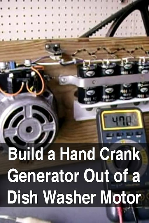 In this video, electronicsNmore shows how he built a 40 watt hand crank generator from a dish washer motor and some other scrap parts.